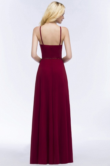 Burgundy Spaghetti Straps Long Bridesmaid Dress with Beading Sash_3
