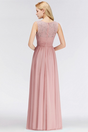 BMbridal Elegant Lace Scoop Bridesmaid Dress Dusty Rose Chiffon Sleeveless Wedding party Dress_3