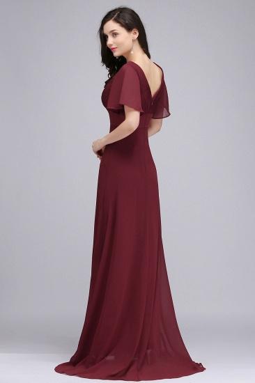 Affordable V-Neck Ruffle Long Burgundy Bridesmaid Dress With Short-Sleeves_6
