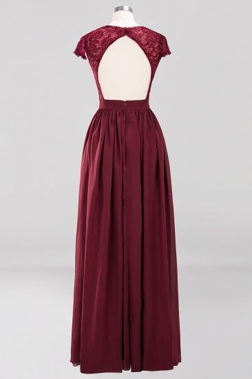 BMbridal Elegant Lace Open-Back Long Burgundy Bridesmaid Dresses Online_5