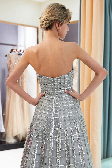 Chic A-line Strapless Sequined Prom Dresses Chiffon Long Party Dresses On Sale_6