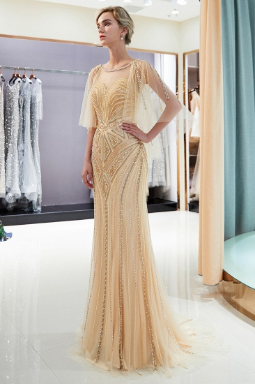 Affordable Mermaid Sweetheart Prom Dresses Illusion Neckline Sequins Beading Evening Dresses_15