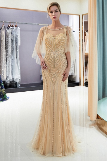 Affordable Mermaid Sweetheart Prom Dresses Illusion Neckline Sequins Beading Evening Dresses_17