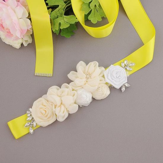 BMbridal Fashion Chiffon Flowers Wedding Sash with Beadings_8