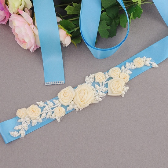 Elegant Satin Flowers Wedding Sash with Beadings_11