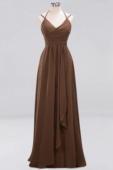 Affordable Chiffon Burgundy Bridesmaid Dress With Spaghetti Straps_12