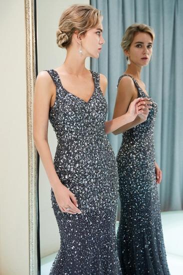 Glamorous V-Neck Rhinestones Prom Dress Long Mermaid Evening Gowns_16