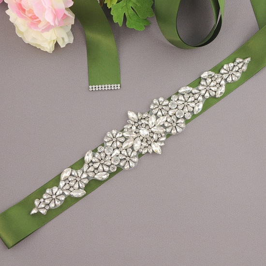 BMbridal Satin Flowers Pattern Wedding Sash with Pearls_16
