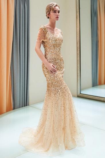 BMbridal Elegant Mermaid Off-the-shoulder Prom Dresses V-neck Sequins Long Evening Dresses_2