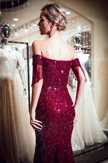 BMbridal Elegant Mermaid Off-the-shoulder Prom Dresses V-neck Sequins Long Evening Dresses_8