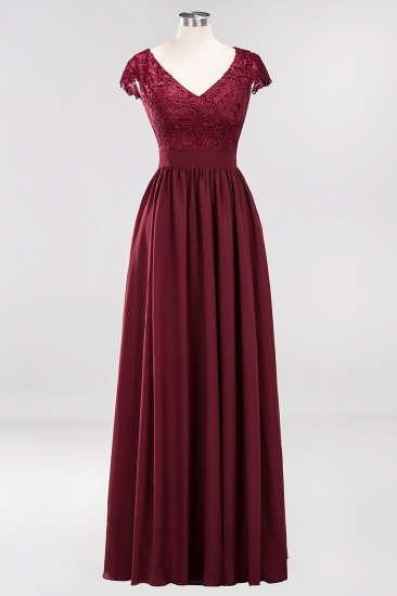 Elegant Lace Open-Back Long Burgundy Bridesmaid Dresses Online_4