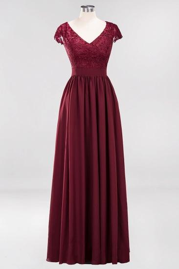 BMbridal Elegant Lace Open-Back Long Burgundy Bridesmaid Dresses Online_4