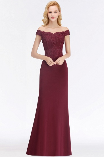 BMbridal Elegant Mermaid Off-the-Shoulder Burgundy Bridesmaid Dresses with Lace_3
