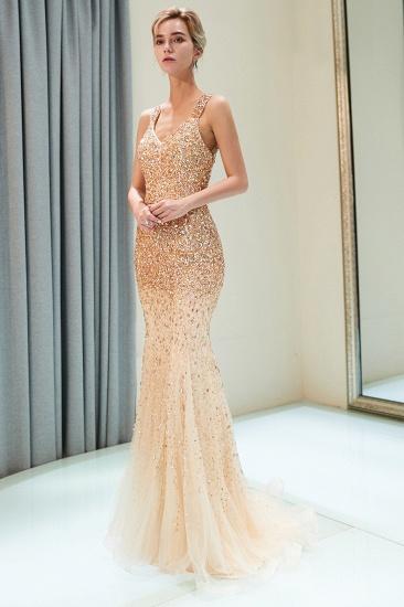 Glamorous V-Neck Rhinestones Prom Dress Long Mermaid Evening Gowns_1