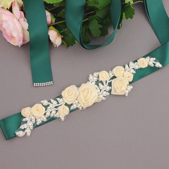 Elegant Satin Flowers Wedding Sash with Beadings_15