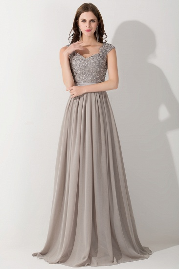 BMbridal Vintage Silver Sleeveless Long Bridesmaid Dress With Appliques_1