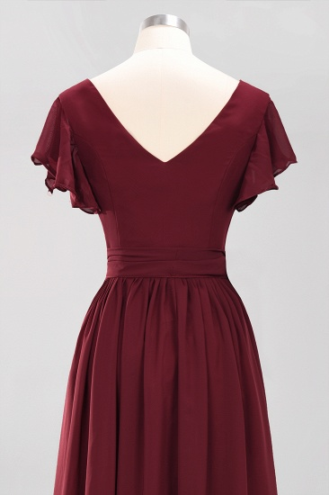 Burgundy V-Neck Long Bridesmaid Dress With Short-Sleeves_62