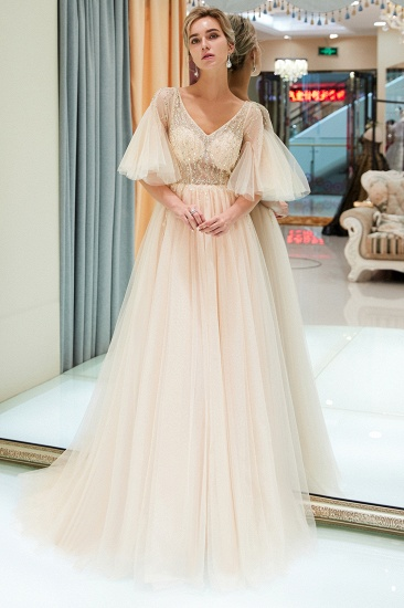 Chic V-neck Rhinestones Prom Dresses Tulle Evening Gowns with Short Sleeves Online_6