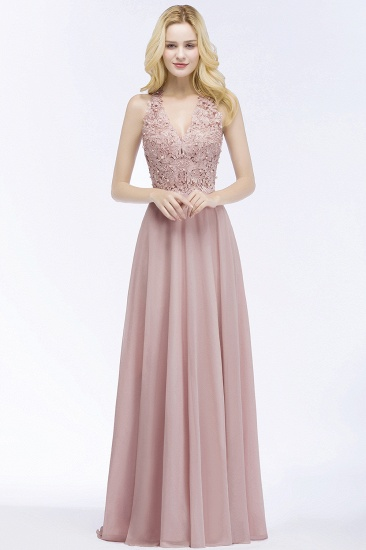 Chic Lace V-neck Pink Chiffon Bridesmaid Dress with Pearls_1