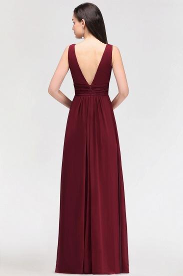 Modest Burgundy V-Neck Sleeveless Long Bridesmaid Dresses Cheap_3