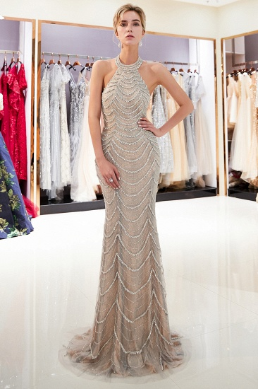 Chic Tulle Mermaid Halter Prom Dresses Sleeveless Sequined Evening Dresses On Sale_4