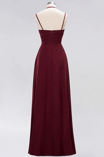 BMbridal Affordable Chiffon Burgundy Bridesmaid Dress With Spaghetti Straps_62