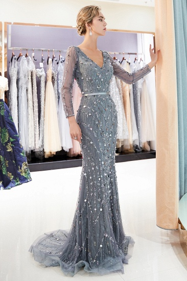 BMbridal Chic Mermaid Long Sleeves Prom Dresses V-neck Sequins Evening Gowns with Sash_5