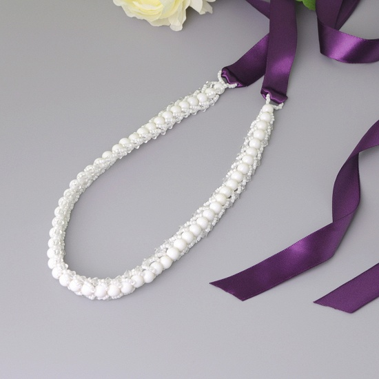 BMbridal Satin Beadings Wedding Sash with Pearls_7