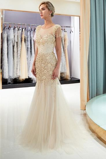 Elegant Mermaid Sleeveless Prom Dresses Flower Tulle Evening Dresses with Rhinestones_12