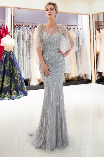 Affordable Mermaid Sweetheart Prom Dresses Illusion Neckline Sequins Beading Evening Dresses_6