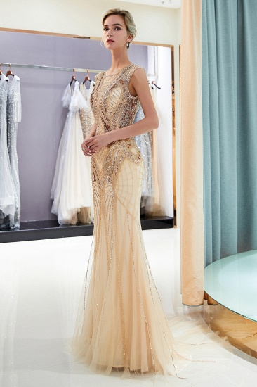 BMbridal Affordable Mermaid Sleeveless Golden Sequins Beading Formal Party Dresses_4