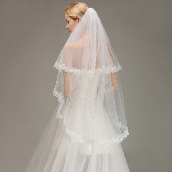 BMbridal Two Layers Lace Edge Wedding Veil with Comb Soft Tulle Bridal Veil_6