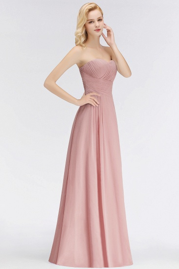 Gorgeous Sweetheart Ruched Long Bridesmaid Dress Dusty Rose Chiffon Strapless Maid of Honor Dress_5