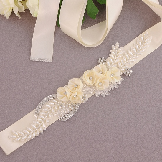 BMbridal Handmade Flower Pearl Wedding Sash with Beadings_2