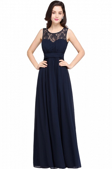 Affordable Chiffon Jewel Sleeveless Lace Bridesmaid Dress Online with Ruffle_1