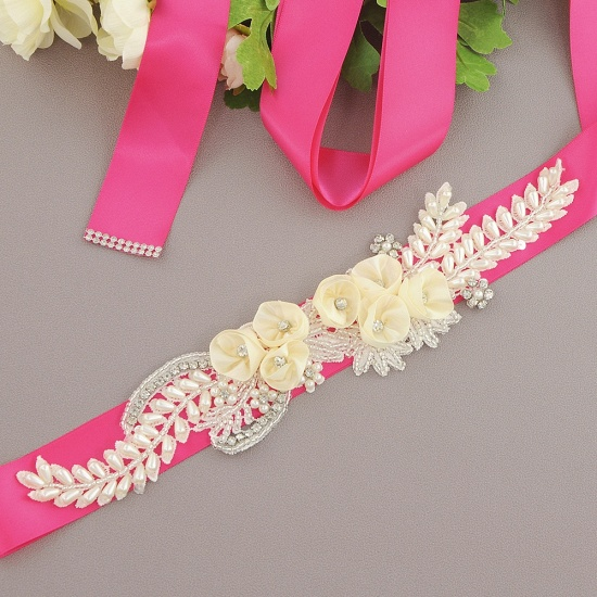 BMbridal Handmade Flower Pearl Wedding Sash with Beadings_3