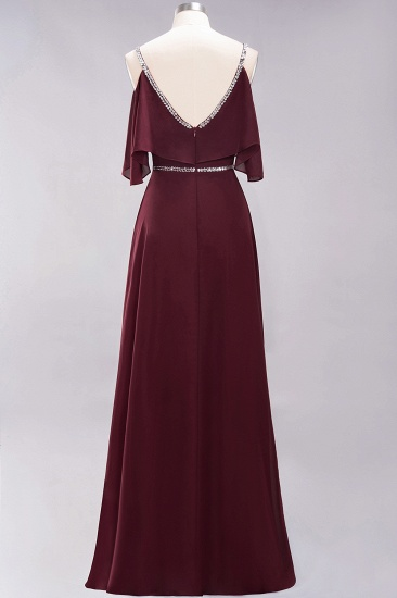Burgundy Cold-shoulder Long Bridesmaid Dress With Half Sleeve_11