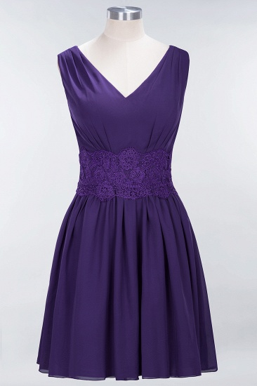 Pretty V-Neck Short Sleeveless Lace Bridesmaid Dresses Online_19