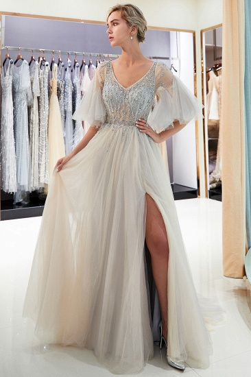 Chic V-neck Rhinestones Prom Dresses Tulle Evening Gowns with Short Sleeves Online_8