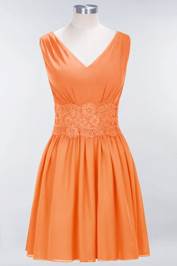 Pretty V-Neck Short Sleeveless Lace Bridesmaid Dresses Online_15