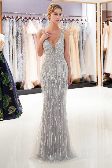 Sexy Deep V-Neck Mermaid Silver Prom Sleeveless Sleeveless Crystals Formal Dresses with Tassels_4