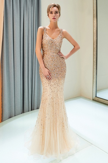 Glamorous V-Neck Rhinestones Prom Dress Long Mermaid Evening Gowns_9
