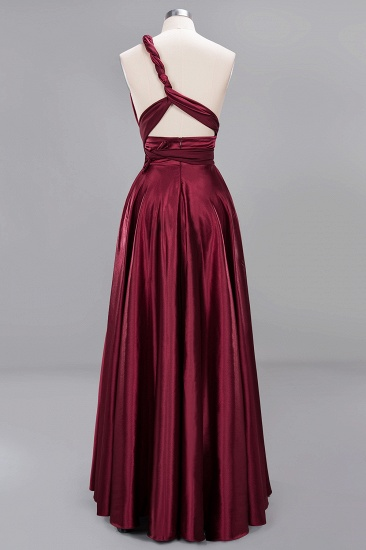 Chic Burgundy Chiffon Long Bridesmaid Dresses With One Shoulder_41