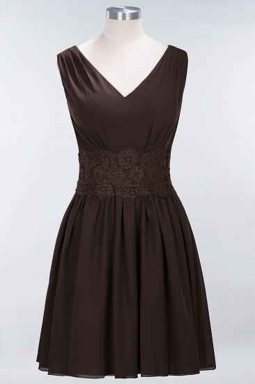 Pretty V-Neck Short Sleeveless Lace Bridesmaid Dresses Online_11