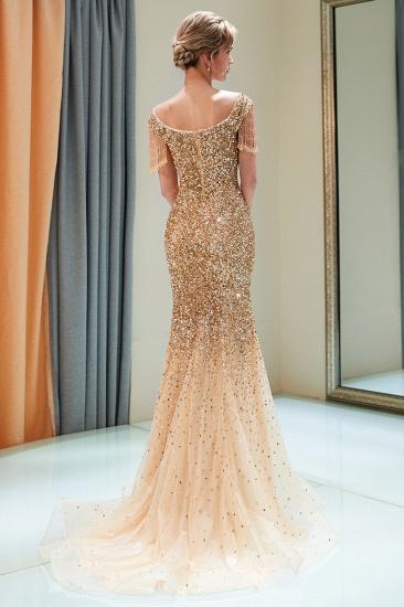 Elegant Mermaid Off-the-shoulder Prom Dresses V-neck Sequins Long Evening Dresses_12
