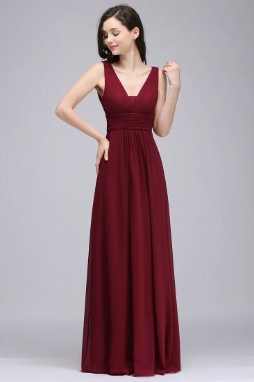 Modest Burgundy V-Neck Sleeveless Long Bridesmaid Dresses Cheap_1