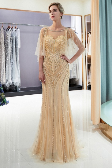 Affordable Mermaid Sweetheart Prom Dresses Illusion Neckline Sequins Beading Evening Dresses_12