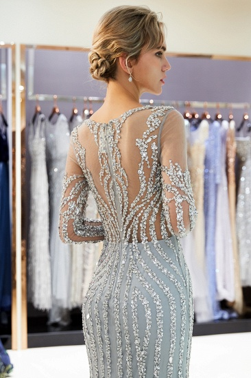 Gorgeous Mermaid Jewel Long Prom Dresses Long Sleeves Evening Dresses with Rhinestones_8