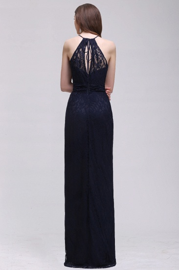 Vintage Halter Sleeveless Lace Navy Bridesmaid Dresses Affordable_3