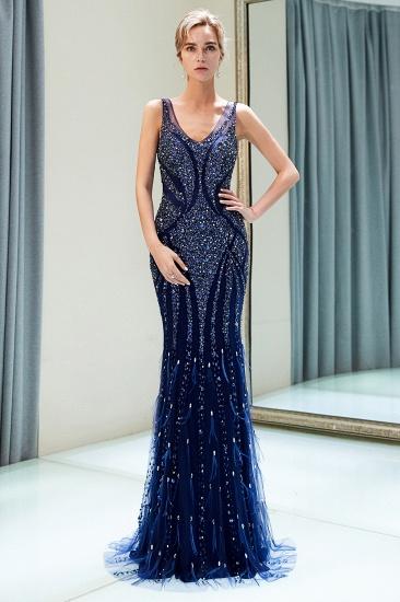 Glamorous Mermaid V-Neck Prom Dresses Sleeveless Long Evening Gowns with Rhinestones_4